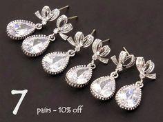 Bridesmaid Gift Set of 7 10% Off Bow Bridal Earrings Crystal Jewelry Set, Wedding Earrings Drop Earrings, Wedding Jewelry Set Maid of Honor