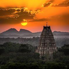 Sunset at Hampi , Karnataka , India.