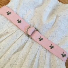 J. Crew Pink Cotton Belt Baby pink cotton belt embroidered with gray dogs. So cute! No PP, trades, or holds. Thanks for looking and happy shopping! J. Crew Accessories Belts