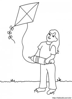 Girl with kite.