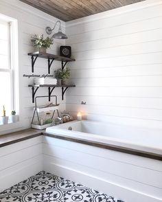 #masterbathroom #bathroom #bathroomremodel #bathroomrenovation #bathroominspo #bathroomdesign #soakingtub #bathroomsofinstagram #bathroomdecor #neutraldecor #woodshelves #openshelving #diybathroom #diyhome #shiplap #cementtile #barnlight #woodceiling #enamelware #whiteandwood #rusticmodern #bhghome #modernfarmhouse #farmhousestyle #minimaliststyle #simplestyle #fixerupper #homerenovation #hyggehome #liketkit