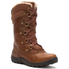 Timberland Women's Earthkeepers® Mt. Hope Mid Boot Boots ($120) ❤ liked on Polyvore featuring shoes, boots, tobacco, mid-calf boots, leather boots, green leather boots, waterproof boots and timberland boots