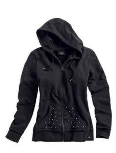 Harley-Davidson® Womens #1 Skull Activewear Hoodie Black