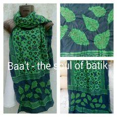 Exclusively designed batik hand block printed silk stole with indigo and green combination, value addition of bandhani(very sharp tie-dye) makes beautiful textures in leaves for natural lookBatik#blockprint#Traditional#contrast#Texture# geometrical#floral#baa't#signature#kutch