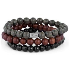 Buy Lucleon - Wood Bead Bracelet Trio for only Shop at Trendhim and get returns. Metal Beads, Wooden Beads, Stone Beads, Making Bracelets With Beads, Bracelets For Men, Surfer Bracelets, Leather Bracelets, Paracord Bracelets, Beaded Bracelets