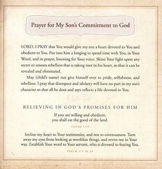Excerpt From 'prayers and promises for my little boy'.  I love this prayer for my son!
