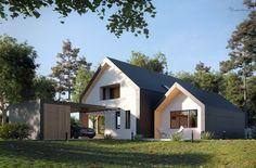 Pavilion House Full CGI on Behance - architektur Attic Renovation, Attic Remodel, Modern Barn House, Modern House Design, Attic House, Garage Attic, Attic Closet, Modern Farmhouse Exterior, Minimal Home