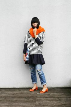 Lucky Chouette printed tee, faux fur snood, clutch and pinstripe dress worn with J Brand jeans and Salvatore Ferragamo Vara pumps