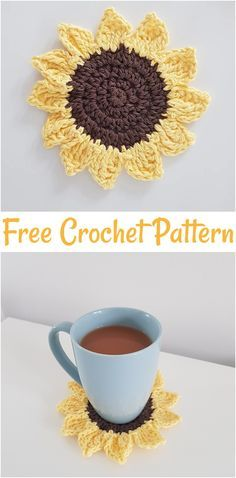 Free crochet coaster patterns,Free Crochet Sunflower Coaster-These free crochet . - Free crochet coaster patterns,Free Crochet Sunflower Coaster-These free crochet coaster patterns ar - Crochet Simple, Cute Crochet, Crochet Daisy, Crochet Stars, All Free Crochet, Crochet Bikini, Crochet Sunflower, Crochet Flowers, Crochet Kitchen
