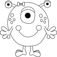 Black and White Girl Monster Clip Art - Black and White Girl Monster Image Monster Coloring Pages, Colouring Pages, Coloring Sheets, Coloring Books, Monster Birthday Parties, Monster Party, Cute Monsters, Little Monsters, Doodle Monster