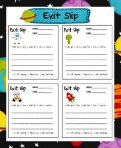 Here's a set of spring-themed exit slips for use in any subject. Each slip includes six different prompts to guide students in their writing. Space Classroom, Classroom Freebies, School Classroom, Classroom Activities, School Fun, Classroom Ideas, School Stuff, School Ideas, Spanish Classroom