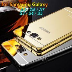 Lusso metallo duro cassa del telefono per samsung galaxy a3 a5  A7 placcatura telaio in alluminio + specchio back cover per samsung s3 s4  S5