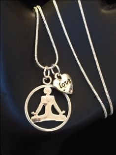 Yoga Necklace with Swarovski Crystal Birthstone Charm by RealCoolTreasures on Etsy