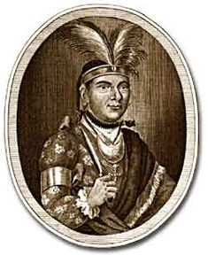 Mohawk Indian Thayendanega, also known as Joseph Brant, served in the British army as an interpreter of native languages during the Revolutionary War.