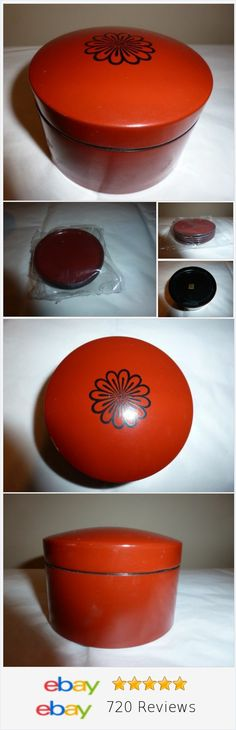 Retro Drink Coaster Set Lacquer Ware Red Made in Japan Sticker Round 5 Sealed @teresahullwrite