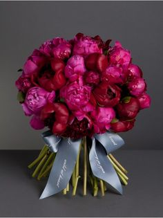 Wild At Heart - Romantic Peony Knot  - A vibrant bouquet of burgundy and hot pink peonies.