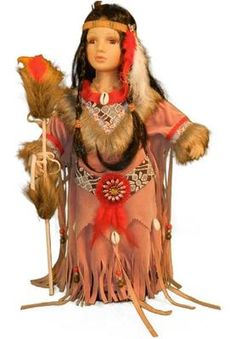 16 inch Indian Female Doll in Native American Costume in Window Box | eBay