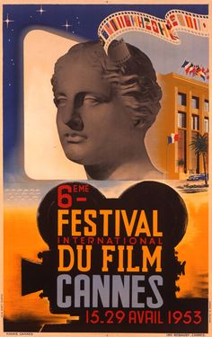 Poster from the 1953 festival showing the original Palais des Festivals, which was inaugurated on La Croisette in 1949 and demolished in 1988.