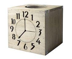 Portavelas en madera de abeto Clock - altura 15 cm