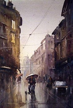 "Dusan Djukaric   ""Rain washed street"",  Watercolor 38x56 cm"