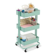 Mint Lexington 3-Tier Rolling Cart By Recollections