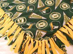 Oakland Athletics Fleece Throw by PolkaDotKreations on Etsy, $50.00
