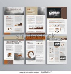 Brown brochure template design with square shapes. Cover layout and infographics
