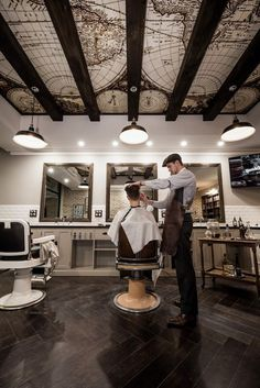 This was a project completed in early 2016 for the design of a new Sydney barbershop. Benicky & Sons is an authentic and traditional barbershop, aiming to provide a unique experience for men, in a comfortable and relatable environment. I also developed … Barber Shop Interior, Barber Shop Decor, Beauty Salon Interior, Salon Interior Design, Barber Shop Vintage, Portfolio Design, Best Barber Shop, Barbershop Design, Barbershop Ideas