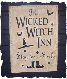 The Wicked Witch Inn - Stay for a Spell! Halloween Door, Halloween Signs, Halloween Projects, Halloween Cards, Holidays Halloween, Vintage Halloween, Happy Halloween, Halloween Decorations, Halloween Ideas