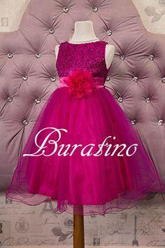Flower Girl Dress Fuchsia Sequin Double Mesh Flower Girl Special occasion Toddler girl Dress on Etsy, $40.00