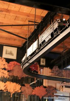 Timothy Oulton Dallas Store | Model Train. I have dreamt of a modal train chugging along from room to room suspended from my ceiling since I was tiny. Timothy, how do you keep actualizing my dreams?