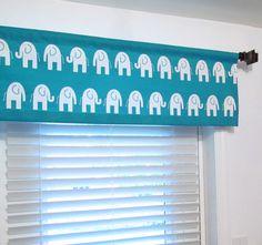 True Turquoise Elephant Valance Children Nursery by OldStation