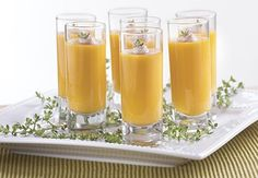 Butternut Squash Soup Shooters help party guests try everything on the appetizer menu without cluttering a plate. #HolidaysMadeHappier