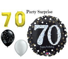 70th Birthday Party Balloons 70 Birthday Black by PartySurprise