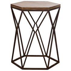 Geometric Industrial Accent Table (190 CAD) ❤ liked on Polyvore featuring home, furniture, tables, accent tables, industrial home furniture, industrial table, hex table, top table and industrial furniture