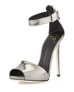 Metallic Ankle-Strap Sandal, Silver by Giuseppe Zanotti at Neiman Marcus. Metallic High Heels, Metallic Sandals, Leather High Heels, Silver Heels, Metallic Leather, Leather Sandals, Ankle Strap High Heels, Open Toe High Heels, Ankle Straps