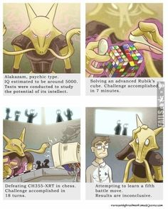 Alakazam, a pokemon funny Pokemon Mew, Pokemon Logic, Alakazam Pokemon, Pokemon Pins, Pokemon Funny, Pokemon Fan Art, Pikachu, Pokemon Stuff, Pokemon Facts