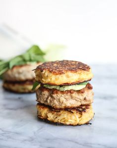 """Ginger turkey patties and parsnip noodles form the veggie buns of these healthy faux """"ramen burgers."""" A great gluten-free, recipe! Ramen Burger Recipe, Great Burger Recipes, Best Burger Recipe, Good Burger, Grilling Recipes, Paleo Recipes, Protein Recipes, Sandwich Recipes, Clean Recipes"""