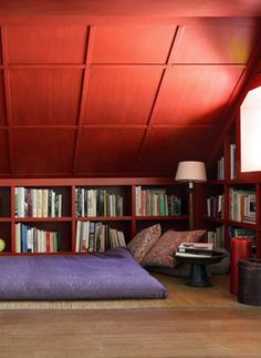 books in the knee wall. New House Plans, Living Room Office, Wall Bookshelves, Home Library, Little House, Attic Reading Nook, Knee Wall, Dream Rooms, Attic Spaces