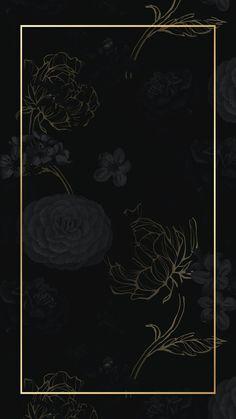 Download premium illustration of Gold frame on a dark floral patterned