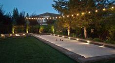 pool im garten ideen scoreboard landscape mediterranean with bocce ball court lighting san francisco backyard installers Backyard Games, Backyard Landscaping, Landscaping Ideas, Backyard Ideas, Bocce Ball Court, Outdoor Glider, San Francisco, The Ranch, Outdoor Living