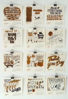 This is cute – Dirty Bandit's 2010 Calendar of Silly Holidays, featuring illustrations of the most absurd, non-denominational holidays they could find, including No Pants Day and Take Your Houseplants for a Walk Day.