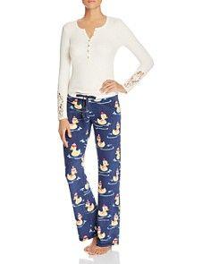 PJ Salvage Henley Top & Duck Print Thermal Pajama Pants