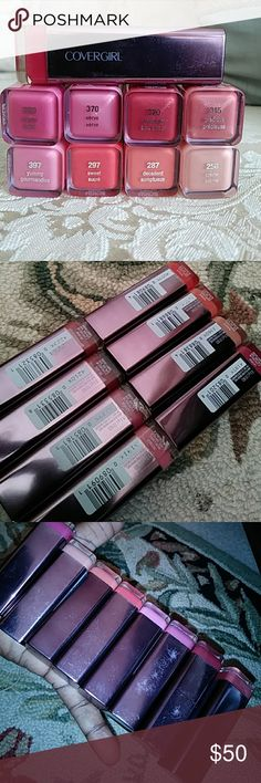 Brand New CoverGirl Lip Color (Bundle qty 8) This item listing is Brand New Never Used  Never Opened  Multi colors CoverGirl lipstick bundle includes one of each;  # 256 Crème  # 287 Decadent # 297 Sweet # 315 Precious # 320 Soulmate # 370 Verve # 380 Dazzle # 397 Yummy  There are visible scratches on the outside shell/cases of each compact/containers Label covers CoverGirl logo brand on 3 colors # 315,256 & 380 *Please see photo descriptions for color scratches contrasts & details  Thank…