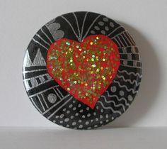 EIN HERZ von Herbivore11 Unikat Herz Button Magnetbutton ausgefallen leuchtend