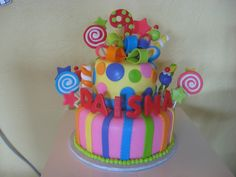 candy theme cake - the Mom send me a cake picture similar to this one, this is my version, i don t know where she got this design from. all fondant candies. Candy Theme Cake, 21st Birthday, Cake Birthday, Birthday Ideas, Personalized Cakes, Cake Pictures, Cakes And More, Themed Cakes, Cake Art