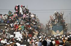 Overcrowded trains prepare to leave for the city after the final prayer ceremony of Bishwa Ijtema in Tongi, on the outskirts of Dhaka, Bangladesh, on January 15, 2012. Thousands of Muslims joined the Akheri Munajat, the final supplication as the first phase of the Muslims congregation concluded by seeking forgiveness and blessings for mankind on Sunday, according to local media. (Reuters/Andrew Biraj)