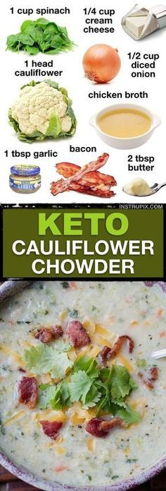 7 Easy Low Carb Soup Keto Friendly This low carb Cauliflower soup is so tasty Its made with simple ingredients and is awesome leftover Instrupix 212513676152794625 Low Carb Soup Recipes, Ketogenic Recipes, Diet Recipes, Cooking Recipes, Healthy Recipes, Ketogenic Diet, Low Carb Soups, Cooking Games, Simple Soup Recipes