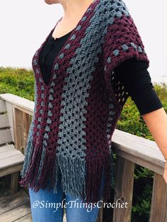 I made this poncho top with Lion Brand Jeans yarn which is one of my very favorite yarns, and I used a granny stitch so it's really beginner-friendly. It's so soft and has a beautiful drape. Crochet Cardigan, Crochet Scarves, Crochet Shawl, Crochet Clothes, Crochet Top, Poncho Shawl, Poncho Tops, Crochet Wraps, Knitted Cape