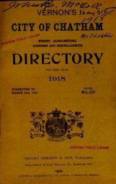 Vernon's city of Chatham street, alphabetical, business and miscellaneous directory for the year 1918